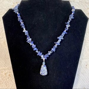 Jewelry - Sodalite blue and white stone necklace